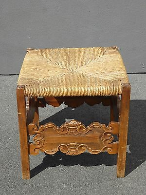 Beautiful Vintage Spanish Style Ornate Carved Wood Rush Stool Bench Ottoman