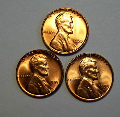 3 COINS 1955 P D S GEM UNCIRCULATED  LINCOLN CENTS