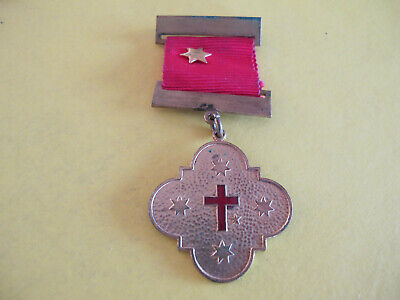Red Crucifix Latin Cross Medal Order and Ribbon & Star   Maker: G W Sweet Melb
