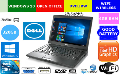Dell Windows 10 Laptop Intel 4GB 320GB Latitude E6400 Notebook Core DVDRW WIFI