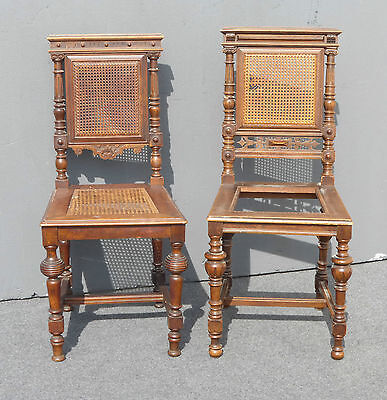 Gorgeous Antique Spanish Style Ornate Carved Cane Accent Chairs No Cane on Seat