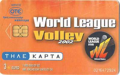 Used Greek phonecard (Volleyball World League 2002, Greek National Team, Volley)