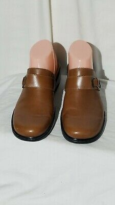 """2a2e88777a239 CLARKS BROWN LEATHER Mules Slides Clogs Slip On Shoe Womens 2"""" Heels ..."""