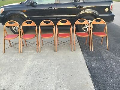 6 Vintage/Antique Solid Wood Folding Bentwood Style Chair Padded Seat