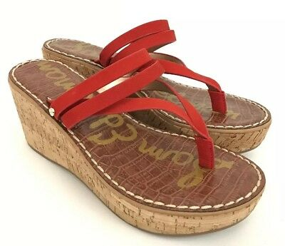d9b8068eb08 SAM EDELMAN RASHA Wedge Sandal Women s Candy Red Size 8.5M -  29.00 ...