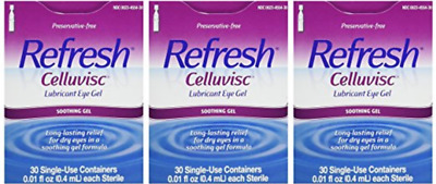 Refresh Celluvisc Lubricant Eye Gel 30 count (3 Pack) Exp: 10/21