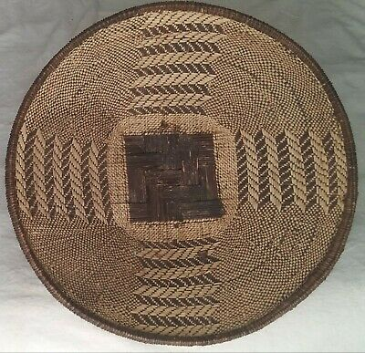 """Vintage American Indian? /African? Hand Woven BASKET Bowl 19.5"""" Dia Great Cond"""
