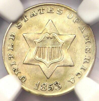 1853 Three Cent Silver Piece 3CS - NGC Uncirculated Detail (MS UNC) - Rare Coin!