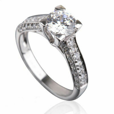 2 Ct Vvs Round Cut W Side Stones Real Diamond 14K White Gold Promise Ladies Ring