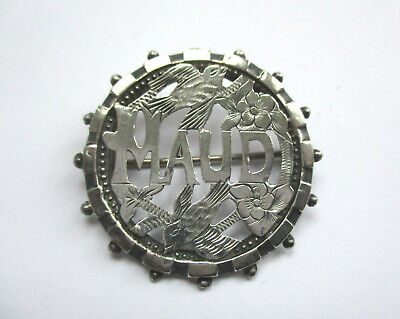 Antique Victorian Sterling Silver Name Brooch / Pin MAUD Hallmarked