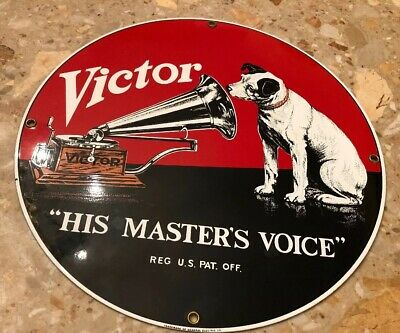 Ande Rooney His Master's Voice Victor Talking Machine Co. Porcelain Record Sign