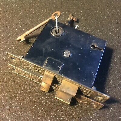 ANTIQUE   Mortise Privacy Lock BRASS FACEPLATE  & Brass Bolts