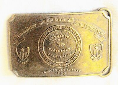 Committee of Vigilance San Francisco CA Vintage Brass Belt Buckle FREE SHIPPING