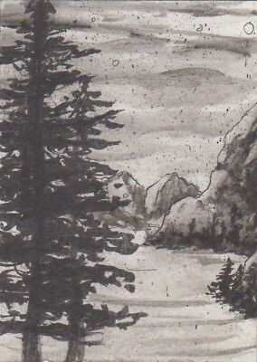 "Original ACEO atc (2.5""x 3.5"") inktober tranquil landscape snow mountain trees"