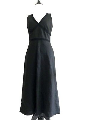 1680964117 Banana Republic Long Linen Dress Size 2 Black Sleeveless V-neck Empire Waist