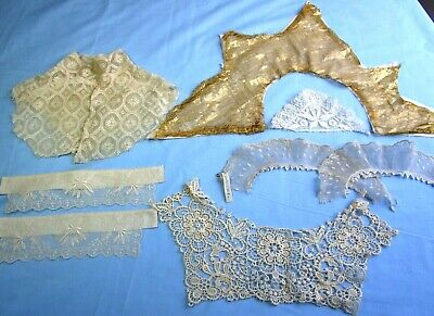 Lot of Antique Dress Collars, French Lace, Schiffli Lace, Metallic Cuffs, Dolls