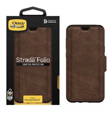 outlet store 68efb a924d OTTERBOX STRADA FOLIO Wallet Samsung Galaxy S9 Leather Case Cover Espresso  NEW