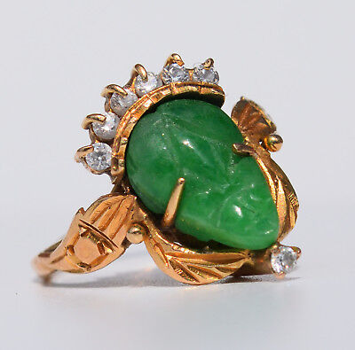 Vintage beauty! Solid 18k carved Colombian emerald diamond ring 2.2 gr.