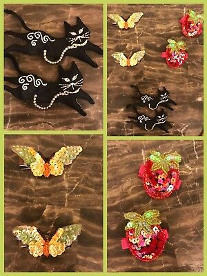 6 HAIR CLIPS BARRETTES BLING Cat Butterfly Strawberry Sequins Rhinestones