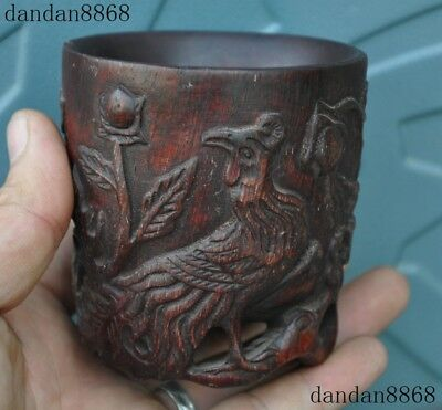 Chinese Old Horns Ox horn carved Phoenix flower Wine vessel Goblet Wineglass Cup