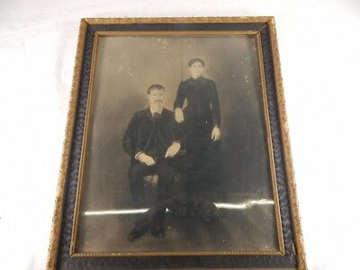 Antique Framed Photo c.1850 Charcoal 24x20 drawing 19th century Victorian Couple