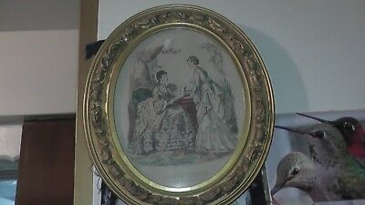 very old print small framed oval victorian french ? la mode illustree women rare