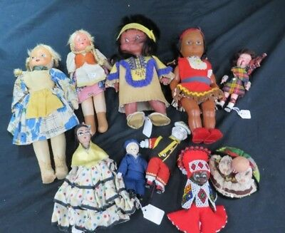 (10) Assorted Vintage Dolls some handmade rare ? asian mix american antique old