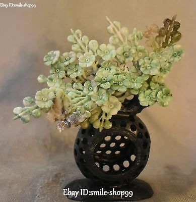 Unique Natural Dushan Jade Carved Plum Flower Butterfly Tree Trunk Basket Statue