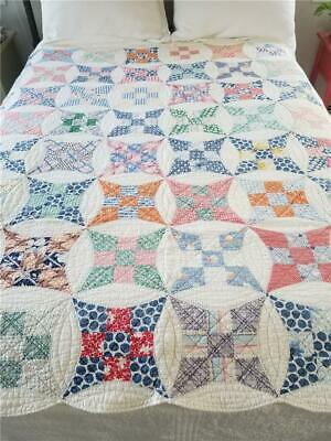 GORGEOUS 9 NINE PATCH VARIATION QUILT - STARS IN CIRCLES, HAND QUILTED c. 1930s