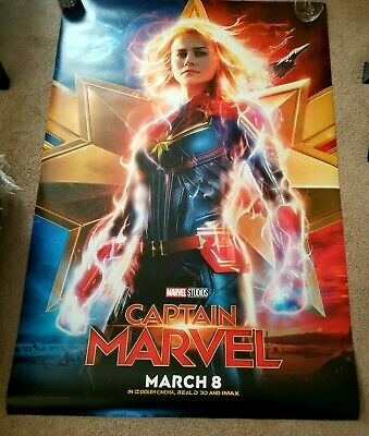 CAPTAIN MARVEL original double sided movie BUS SHELTER poster 4' X 6'