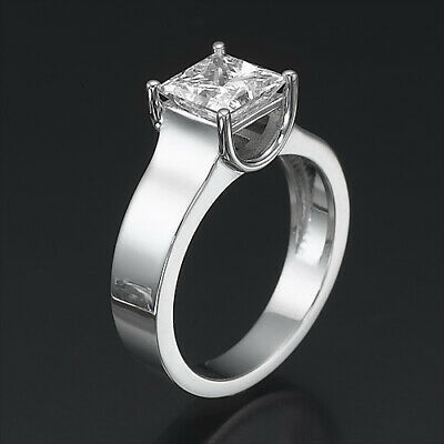 Solitaire Princess Cut Brilliant Real 2 Ct Diamond 18K White Gold Proposal Ring