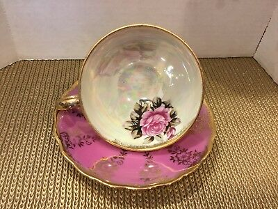Vintage Royal Sealy Japan Pink Lusterware Three Footed Iridescent Tea Cup Saucer