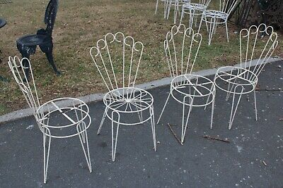 4 X Vintage Wrought Iron Outdoor Dining Chairs Metal Cast Set