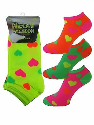 3 Girls Ladies Kids Neon Fashion Trainer Liner Socks / Hearts / UK 4-6