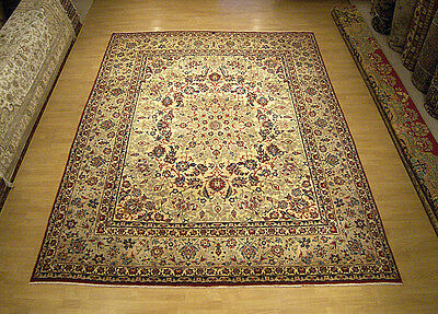 9.9 x 11.6 High Quality Handmade Antique Persian Esfahaan Rug _Fine Soft Wool
