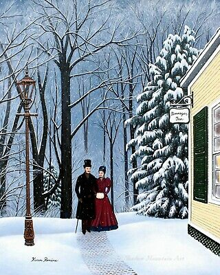 "Landscape 8"" x 10"" period Art Print of painting couple winter couple Inn snow"