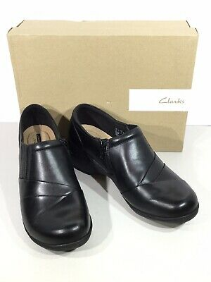 dc2f1ec6f07cb Clarks Channing Essa Women s Size 9W Black Leather Zip Up Casual Shoes  X19-28
