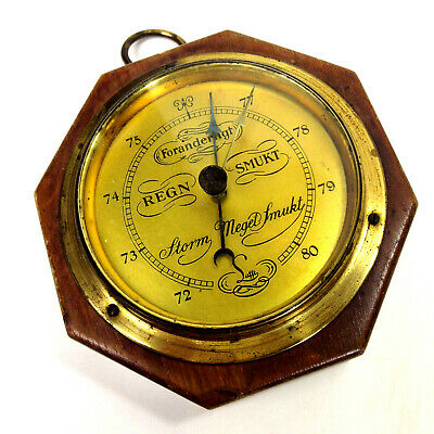 Vintage SUFFT SMALL OCTAGONAL BAROMETER Weather Station Wall Hanging