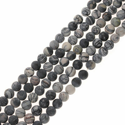 4-12mm Round Natural stone beads Matte frosted Grid-like stripe stone Loose bead
