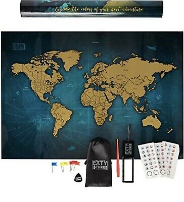 """Scratch Off World Map Gift 24""""x17""""   Deluxe Travel Wall Poster    USA States """
