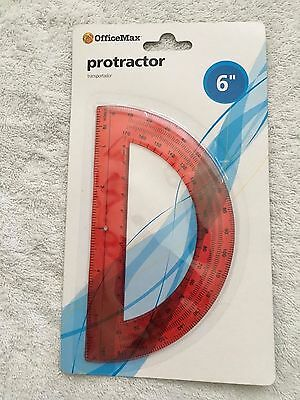 """NEW OfficeMax 6"""" protractor red"""