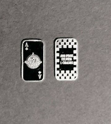 Silver Ace Of Spades .999 Fine Bar One Gram