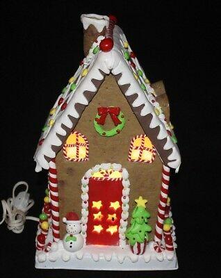 Claydough and MetaL Illuminated Gingerbread House, 14'' Happy days