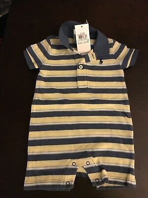 Polo Ralph Lauren Baby Boy S/S Striped One Piece Body Suit Layette 3 Months 3M