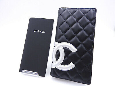 Auth CHANEL Cambon Agenda Day Planner Cover Lambskin Leather Black Silver A-9032