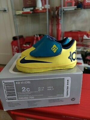 4863b068d0a DS Nike Air KD 6 VI Sonic Yellow Sz 2C Crib Toddler Baby Kevin Durant
