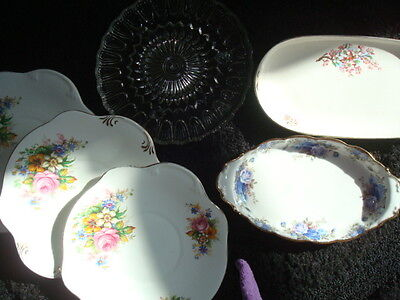 retro vintage collection of cake/sandwich plates excellent Shabby Chic