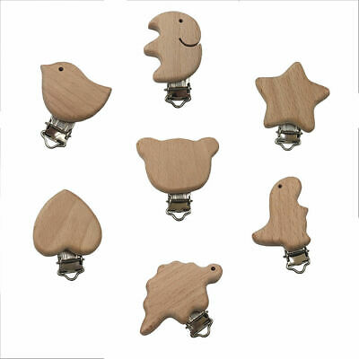 Natural Beech Wood Alloy Animal Baby Teether Pacifier Clip DIY Holder Toy Making