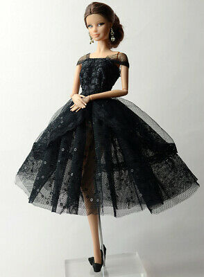 Handmade Princess Black Dress Lace Silk Clothes Outfit For Barbie Doll Barbie