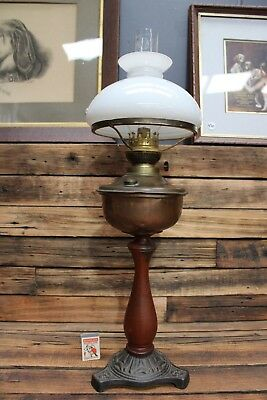 Antique KOSMOS BRENNER Oil Lamp Kerosene Table Copper Cast Iron Vintage